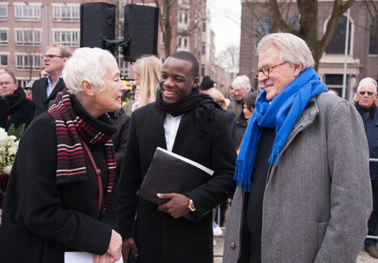 Sprekers Joke Koningh, Gershwin Bonevacia en Jeroen Krabbé in gesprek