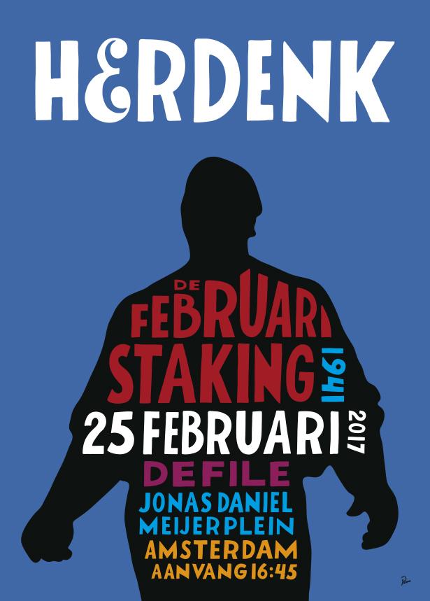 Affiche Herdenking Februaristaking 2017 door Parra